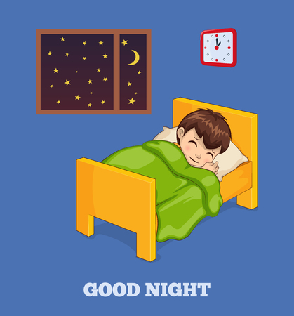 Good night poster with boy who sleeps in bed under warm blanket near starry sky inside window and wall clock isolated vector illustrations on banner.