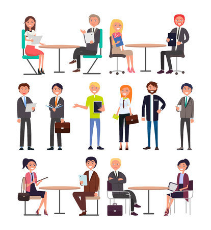 Office workers with briefcases daily routine set. Men and women in formal clothes negotiate business issues at table isolated vector illustrations. 向量圖像