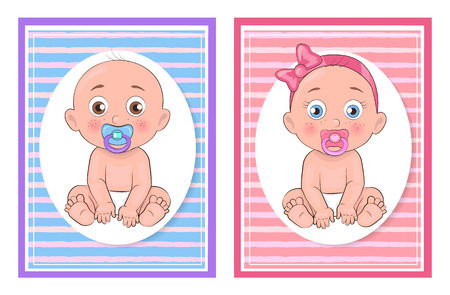 Girl and boy kids collection, set of cards with images of children female wearing pink bow, male stipped pattern on background vector illustration
