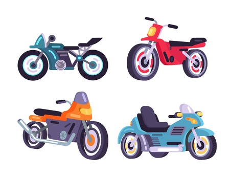 Motorbikes Set Stylish Motor Transport Item Models