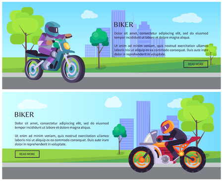 Biker man on scooter drives to work banners set, vector web pages design with push buttons, street racer on motorbike driving, cityscape background Ilustrace