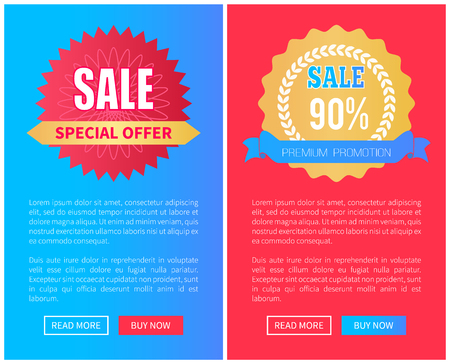 Sale special offer premium promotion set of round labels with watermark, web poster push buttons, advertisement banners, add your text promo advert Ilustração