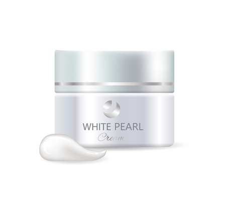 Jar of white pearl day cream and product sample. High quality expensive skincare means for women inside shiny container isolated vector illustration.