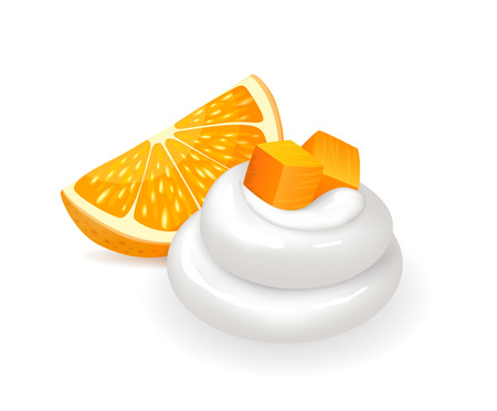 Orange slice with fresh swirl of whipped cream. Juicy citrus fruit and topping. Summer dessert of natural ingredients isolated vector illustration.