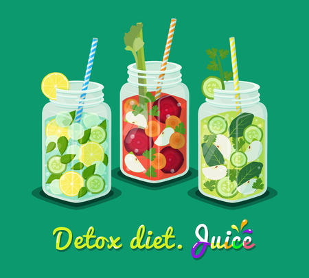 Detox diet poster, mugs set with refreshing drink mojito cocktail containing mint leaves, round slices of lemon, ice pieces straw vector illustration