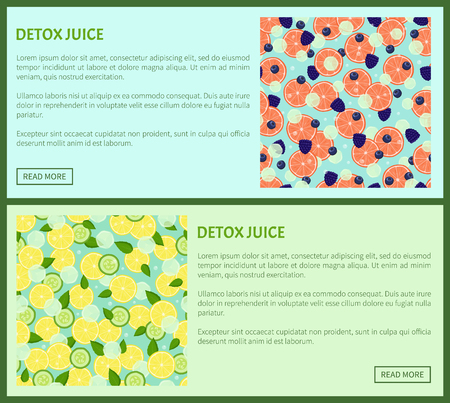 Detox juice web poster ingredients of refreshing drink lemon and cucumbers, grapefruit slices with black raspberries and blueberries vector with text set