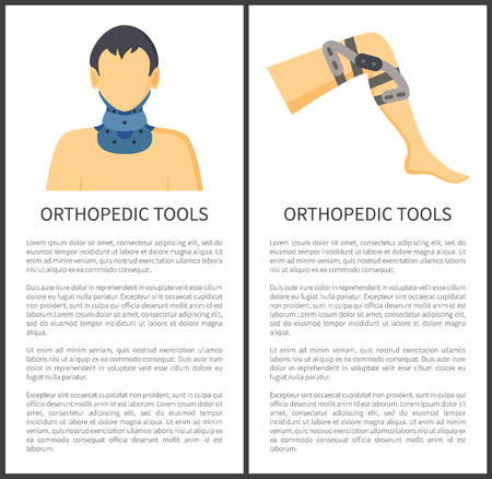 Orthopedic tools for neck and knee protection posters having text sample with headline, bandage helping to relieve pain of patient vector illustration