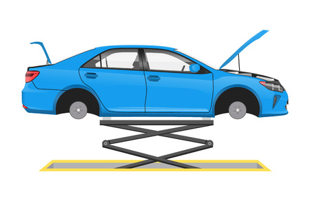 Vehicle suspended on special lift vector poster, illustration of automobile in auto workshop, car without wheels and open hood inspection process