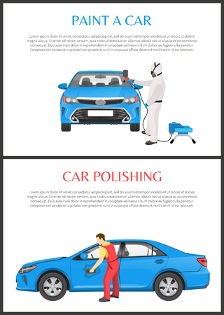 Polishing and paint a car color vector illustration with isolated blue vehicles in automobile workshops, professional employees working on modern auto
