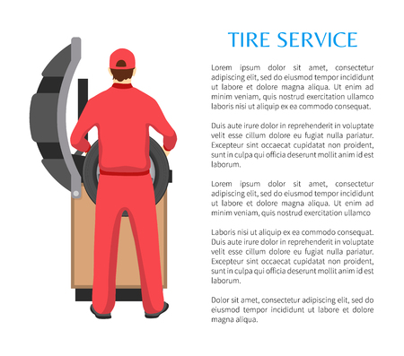 Tire service and man fitting car wheel on modern bench, isolated vector illustration white background mechanic profession working process, text sample