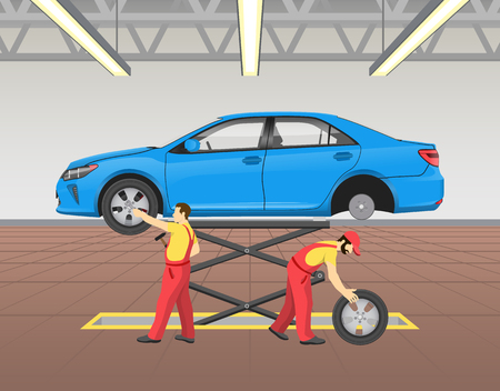 Lifted car and repairing process, man pulling rubber tire on floor, auto mechanic checking wheels of transport in light garage, vector illustration