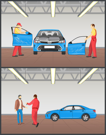 Auto before and after servicing in car workshop vector illustration with mechanics replacing doors of crashed vehicle happy client receiving his keys