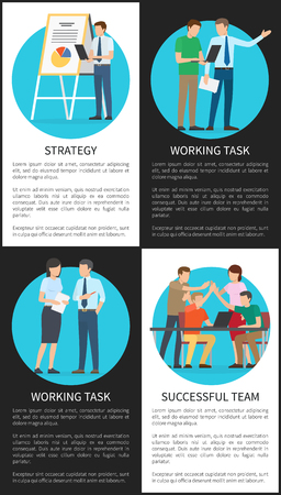 Strategy and working task, successful team posters collection, business people at work, rounded images text sample with headlines vector illustration