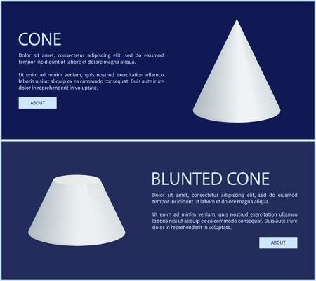 Cone and blunted cone vector illustration, text sample and push buttons white geometric figures two varied form prisms, round shape