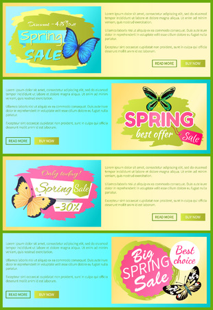 Spring discount labels on online poster butterflies with dots, ornaments and antenna, morpho springtime creatures vector promo label sale concept Illustration