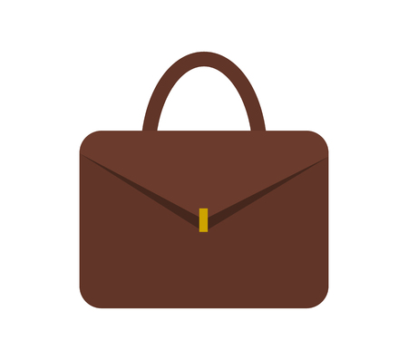 Leather briefcase for documents with small gold clasp. Formal practical unisex accessory. Convenient case isolated cartoon vector illustration