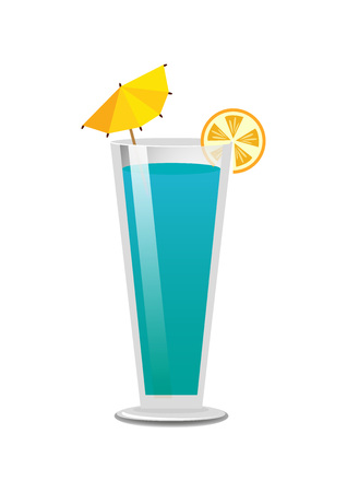 Pretty bright blue drink template, color banner, vector illustration with alcohol in cute goblet with yellow umbrella and orange, white backdrop 일러스트