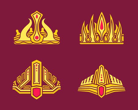 Kings and queens colorful king hat set inlaid with gems. Golden heraldic crowns of standard and unusual design precious stones vector on violet