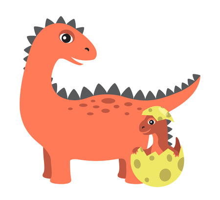 Prehistoric creature, and egg with newborn kid dinosaur, spiked dino type with sharp teeth, vector illustration, isolated on white background Illustration