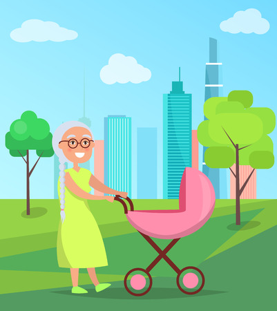 Grandmother walk with newborn girl in stroller baby carriage in city park vector illustration of infant child and granny on background of skyscrapers