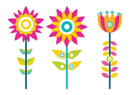 Bright creative flowers with colorful petals set. Ornamental bloom with big buds on thin long stems. Floristic decorations vector illustrations Illusztráció