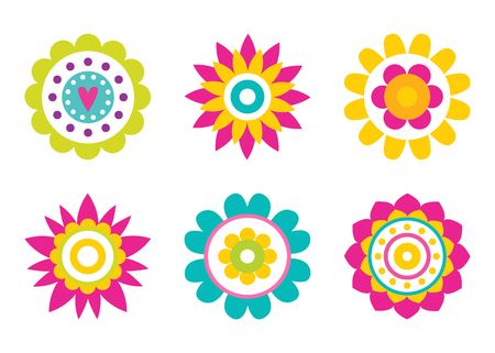 Stylish abstract round flowers made of simple elements in cartoon style, geometric shape bloom with heart and dots, abstractions of blossoms vector