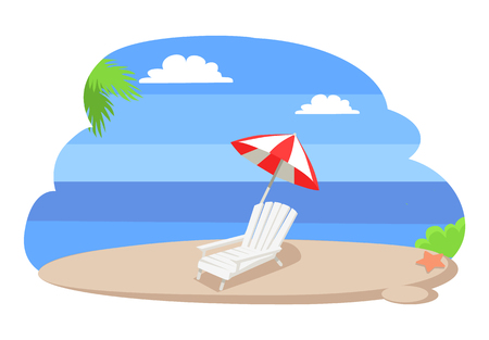 Seaview seascape with tropical beach, chaise longue under striped umbrella, hot summer vector sand, palm leaves and blue sea or ocean on coastline Illustration