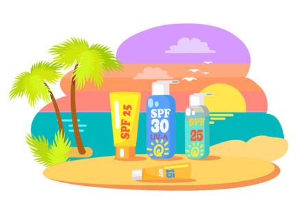 Before and after application promotion. Sunset at beach with tubes of creams and lotions for suntan on sand vector illustration