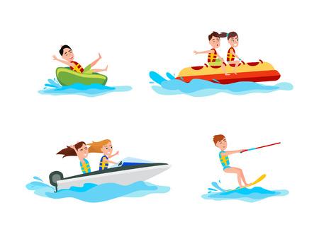 Conjunto de kitesurf de colección deportiva de actividades de verano para personas, paseos en bote y banana boat, ilustración vectorial aislado sobre fondo blanco. Ilustración de vector