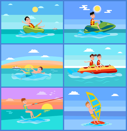 Activities of Summer Sport Vector Illustration