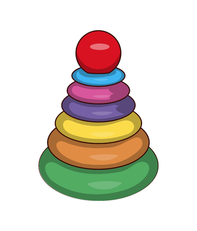 Cones games and toys set with smaller and bigger conic plastic circles, game for children development vector illustration isolated on white background Illustration