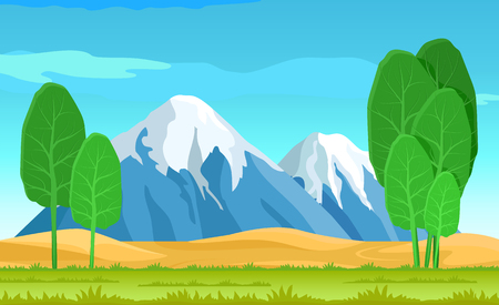 Abstract trees and cute landscape, vector illustration, grass and sky, snowy cap on mountains, green salad roots, beauty nature view Ilustrace