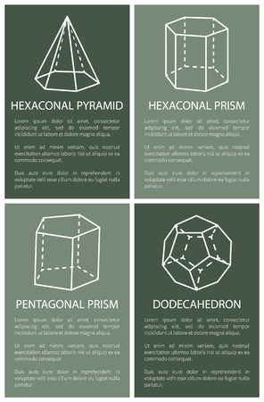 Hexagonal Pyramid and Prism, Dodecahedron Drawings 일러스트