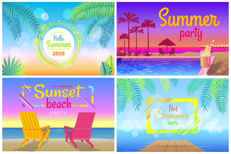Sunset beach party hello summer time posters set party near pool, tasty cocktails, tall palms, two sunbeds on coastline vector illustrations Illustration