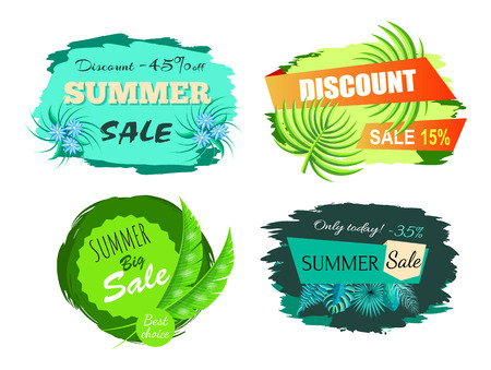 Summer sale and discount, summertime deal only today, poster with headlines and flower, leaves collection vector illustration isolated on white background