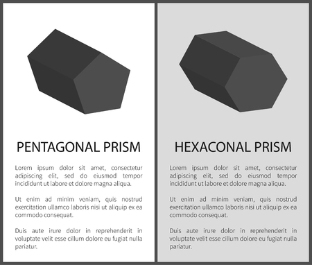 Pentagonal and hexagonal prisms on posters with text, solid three dimensional figures bases vector illustrations