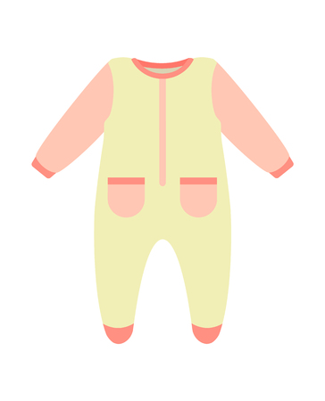 Baby clothes, poster with bodysuit of pink color with pockets, warm object for children, kids wearing vector illustration isolated on white background