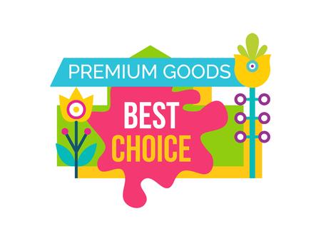 Premium Good Best Choice Sale Emblem Flower Vector