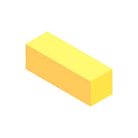 Verticale geometrische figuur sjabloon gele kubus geïsoleerd op een witte achtergrond prisma met rechthoekige en vierkante elementen vector illustratie