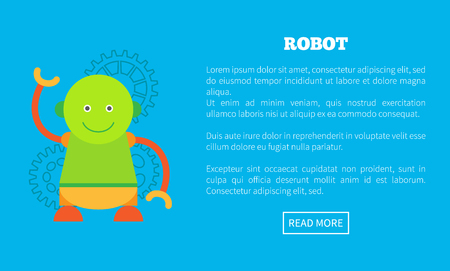 Funny Robot with Round Head and Friendly Face