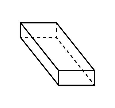 Cuboid black geometric shape projection of dashed and straight lines figure path of dark color. Parallelepiped with even opposite sides vector sketch