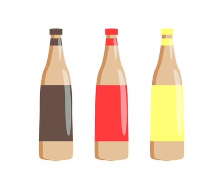 Bottles of tasty sauces for hot-dogs set. Spicy barbecue, tender ketchup and piquant mustard in plastic containers. Vector illustrations