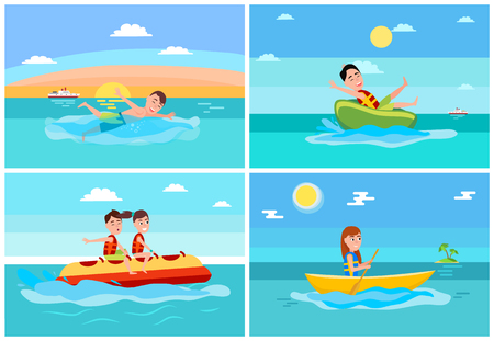 Sport and activities collection, banana boat and donut ride, boating and swimming boy, ship and island with palm trees, vector illustration