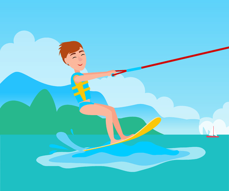 Kitesurfing summer water activity, happy boy, smiling man standing on board and holding rope, vector illustration on background of coastline