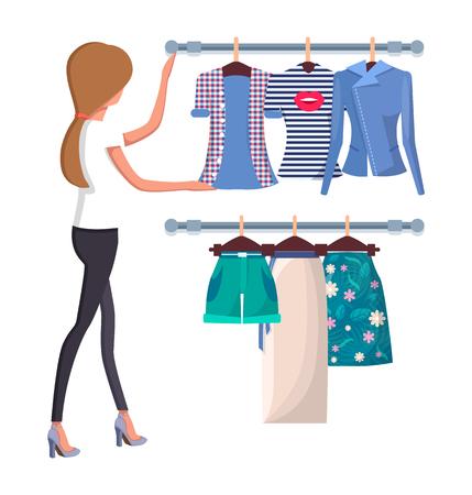 Woman Choosing New Summer Vogue Shirts and Shorts