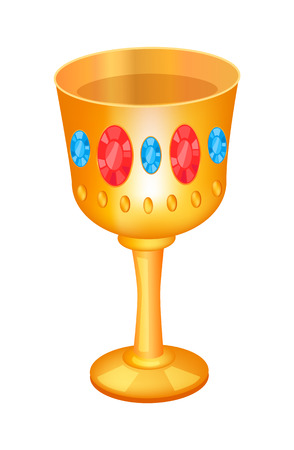 Cup incrustrated with jewelry, bowl made of golden material with diamonds, brilliants and gemstones, goblet with precious stones, vector illustration