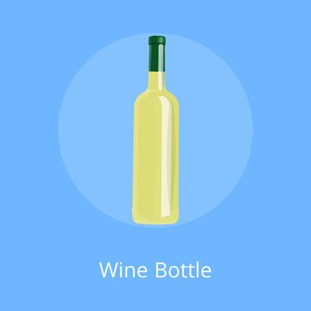 Bottle of White Wine Isolated on Blue Background.