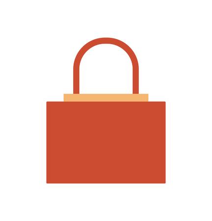 Brown women handbag with metal decorative element vector illustration isolated on white. Fashionable elegant bag female accessory, modern stylish purse