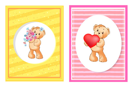 I love you and me teddy bears with heart sign vector illustration of stuffed toy animals, presents for Happy Valentines Day, cartoon posters Banque d'images - 105604099
