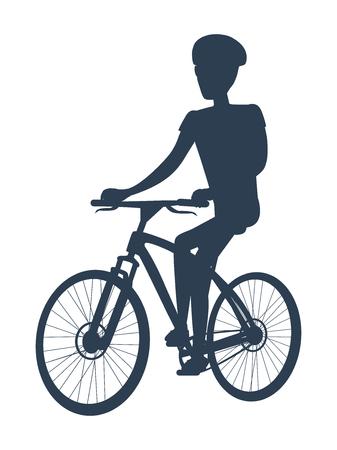 Silhouette sombre du cycliste, illustration vectorielle avec sportif sur vélo mignon, homme au casque spécial, carcasse incurvée, bannière isolée sur fond blanc